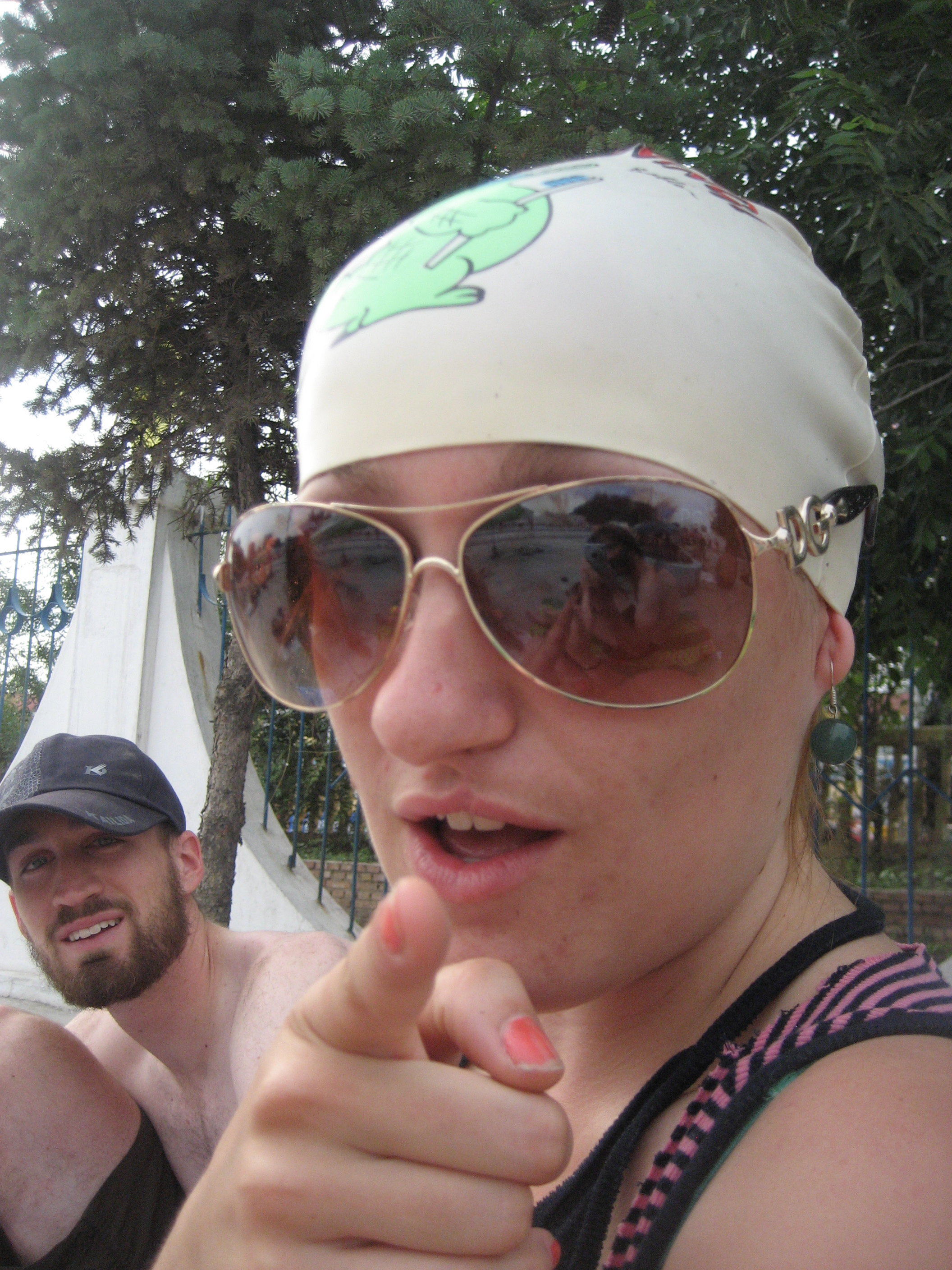 Becci, Swim Cap, Style, Pool, Dan, Finger Point... Hilarity