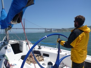 Driving a Sydney 38 into the Golden Gate on a beautiful clear day © Hilary Waleka - 2013